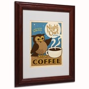 "Trademark Anderson ""Night Owl Blend Coffee"" Art, White Matte W/Wood Frame, 11"" x 14"""