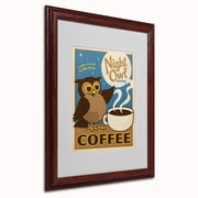 "Trademark Anderson ""Night Owl Blend Coffee"" Art, White Matte W/Wood Frame, 16"" x 20"""