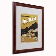 "Trademark Anderson ""Travel by Rail"" Paper Art, White Matte W/Wood Frame, 16"" x 20"""