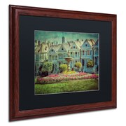 "Trademark Erik Brede ""Alamo Square"" Art, Black Matte W/Wood Frame, 16"" x 20"""