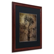 "Trademark Erik Brede ""Grungy Tree"" Paper Art, Black Matte W/Wood Frame, 16"" x 20"""
