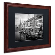 "Trademark Erik Brede ""Nyhavn Harbor"" Art, Black Matte W/Wood Frame, 16"" x 20"""