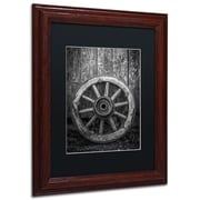 "Trademark Erik Brede ""The Old Wooden Wheel"" Paper Art, Black Matte W/Wood Frame, 16"" x 20"""