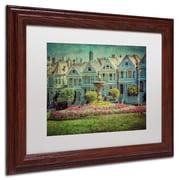 "Trademark Erik Brede ""Alamo Square"" Paper Art, White Matte W/Wood Frame, 11"" x 14"""