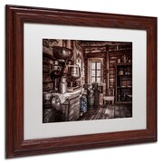 "Trademark Erik Brede ""Old Farm House"" Paper Art, White Matte W/Wood Frame, 11"" x 14"""