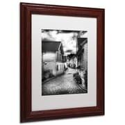 "Trademark Erik Brede ""Old Stavanger Part II"" Paper Art, White Matte W/Wood Frame, 11"" x 14"""