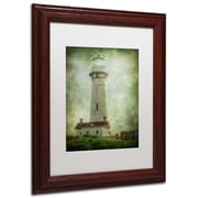 "Trademark Erik Brede ""Pigeon Point Light Station"" Paper Art, White Matte W/Wood Frame, 11"" x 14"""