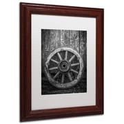 "Trademark Erik Brede ""The Old Wooden Wheel"" Art, White Matte W/Wood Frame, 11"" x 14"""