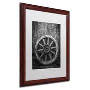 "Trademark Erik Brede ""The Old Wooden Wheel"" Paper Art, White Matte W/Wood Frame, 16"" x 20"""