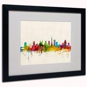 "Trademark Michael Tompsett ""Bristol England Skyline III"" Art, White Matte W/Black Frame, 16"" x 20"""