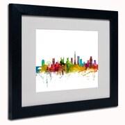 """Trademark Michael Tompsett """"Bristol England Skyline II"""" Art, White Matte W/Black Frame, 11"""" x 14"""""""