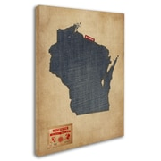 "Trademark Michael Tompsett ""Wisconsin Map Denim Jeans Style"" Gallery-Wrapped Canvas Art, 18"" x 24"""