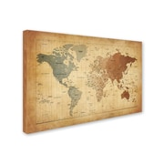 """Trademark Michael Tompsett """"Time Zones Map of the World"""" Gallery-Wrapped Canvas Arts"""