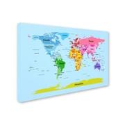 Trademark Michael Tompsett World Map for Kids Gallery-Wrapped Canvas Art, 22 x 32
