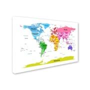 Trademark Michael Tompsett World Map for Kids II Gallery-Wrapped Canvas Art, 16 x 24