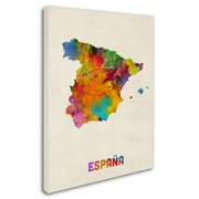 """Trademark Michael Tompsett """"Spain Watercolor Map"""" Gallery-Wrapped Canvas Art, 14"""" x 19"""""""