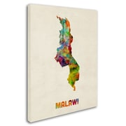 """Trademark Michael Tompsett """"Malawi Watercolor Map"""" Gallery-Wrapped Canvas Art, 24"""" x 32"""""""