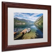 "Trademark Pierre Leclerc ""Lake"" Art, White Matte W/Wood Frame, 11"" x 14"""
