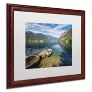 "Trademark Pierre Leclerc ""Lake"" Art, White Matte W/Wood Frame, 16"" x 20"""