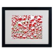 "Trademark Kurt Shaffer ""Winter Berries in the Snow"" Art, White Matte W/Black Frame, 16"" x 20"""