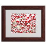 "Trademark Kurt Shaffer ""Winter Berries in the Snow"" Art, White Matte W/Wood Frame, 11"" x 14"""