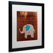 "Trademark Nicole Dietz ""Elephant on Wood"" Art, White Matte W/Black Frame, 16"" x 20"""