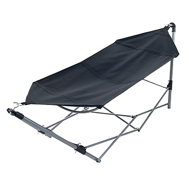 Stalwart Portable Canvas Hammock With Frame Stand and Carrying Bag, Black