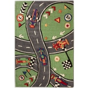 nuLOOM KinderLOOM Race Track Green Kids Rug; 5' x 7'