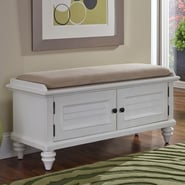 Home Styles Bermuda Upholstered Entryway Bench; Brushed White