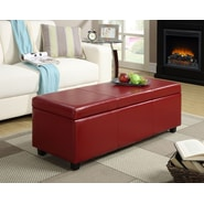 Simpli Home Avalon Large Rectangular Storage Ottoman; Red