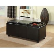 Simpli Home Avalon Rectangular Storage Ottoman with 3 Serving Trays; Brown