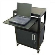 Buhl Metal Adjustable AV Cart with Locking Cabinet and Pull Out Shelf
