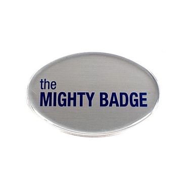 The Mighty Badge Name Badge Kit Oval Inkjet Silver Starter Kit, 2.57