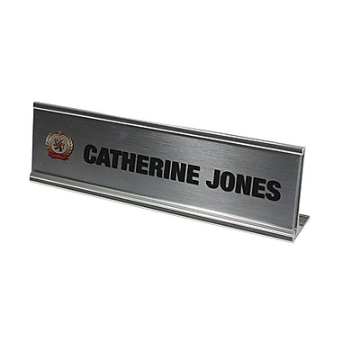 The Mighty Badge – Trousse de porte-noms pour bureau argentés Signage Collection, 2 x 8 po, 6/paq.