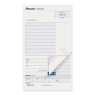 Blueline Guest Check Book, 2 Part Carbonless, 7-1/2