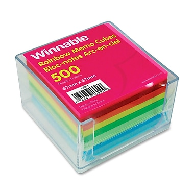 Winnable Self Adhesive Acrylic Memo Cube, 500 sheets, 3-1/2
