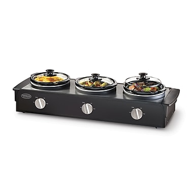 Nostalgia Electrics 2.5-Quart Triple Slow Cooker Buffet