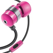 GOgroove® AudiOHM HF Earbud Headphones with Built-in Handsfree Microphone, Silicone Ear Gels and Velvet Carrying Bag, Pink