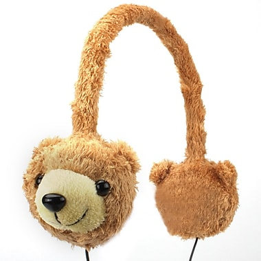 GOgroove® Groove Pal KDZ Over-Ear Headphones With Kids Safe Volume Limiting Sound, Brown Bear