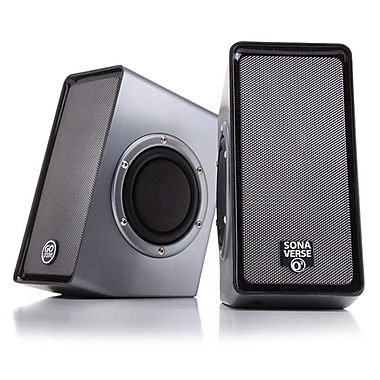 GOgroove® SonaVERSE O2 Universal USB Powered Multimedia Computer Speakers with Passive Subwoofers and Onboard Volume Control