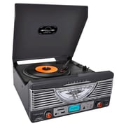 Pyle®Home Retro Recored Turntable With AUX Input/Radio/USB/SD/MP3, Black