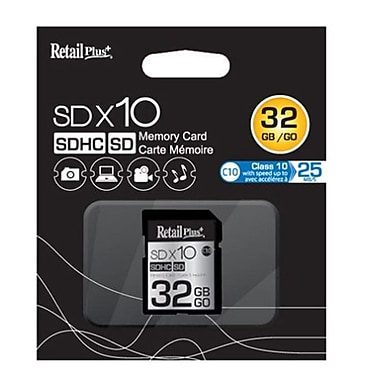 RetailPlus MESD C10 Memory Card, 32GB, Black