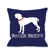 One Bella Casa Doggy D cor Boxer Briefs Throw Pillow; 18'' H x 18'' W
