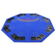 JP Commerce New Design 4 Fold Octagon Poker and Blackjack Table Top; Blue