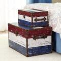 Household Essentials 2 Piece Red, White & Blue Stripe Design Trunk Set