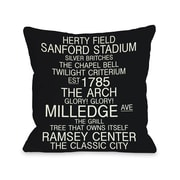 One Bella Casa Athens Georgia Landmarks Throw Pillow; 18'' H x 18'' W