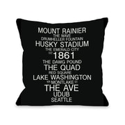 One Bella Casa Seattle Washington Landmarks Throw Pillow; 18'' H x 18'' W