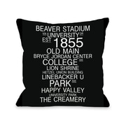 One Bella Casa University Park Pennsylvania Landmarks Throw Pillow; 18'' H x 18'' W