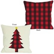 One Bella Casa Plaid Christmas Tree Polyester Throw Pillow; 20'' H x 20'' W