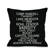 One Bella Casa Madison Wisconsin Landmarks Throw Pillow; 18'' H x 18'' W